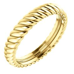 14kt Yellow 3.75mm Thick Rope Band Size 6