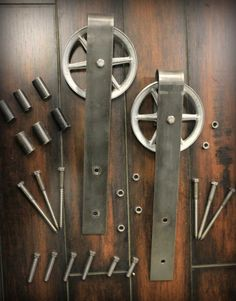vintage classic sliding barn door hardware raw steel on sale Barn Door Closet, Barn Door Track, Diy Barn Door, Sliding Barn Door Hardware, Sliding Doors, Barn Style Doors, Double Barn Doors, Door Kits, Interior Barn Doors