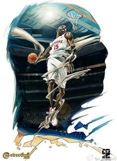 Vince Carter Raptors Dunk Basketball Art