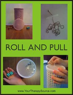 Roll and Pull Activity Idea. Encourages fine motor skills, grasp and grading movements. Pinned by The Sensory Spectrum, Edson Spectrum, Motor Activities, Sensory Activities, Therapy Activities, Educational Activities, Activities For Kids, Activity Ideas, Therapy Ideas, Pediatric Occupational Therapy, Pediatric Ot