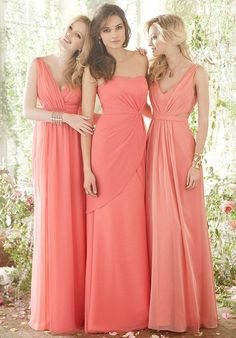 Coral luminescent chiffon over Melon lining A-line bridesmaid dress with a draped V- neckline and cut-outs at the natural waist | Jim Hjelm Occasions | https://www.theknot.com/fashion/5402-jim-hjelm-occasions-bridesmaid-dress