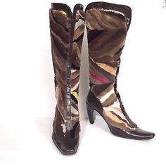 c503d5611faf Peter Kent Brown Leather Rabbit Fur High Heel Boots Made in Italy Sz 36.5  6.5 Stiletto