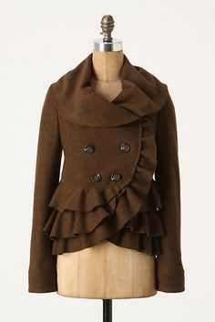 I like the Frilled Echelons jacket from Anthro in brown as well. On sale now for $79.95