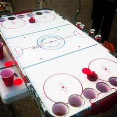 This air hockey version of beer pong is not only different, but awesome! This is a sure way to get everyone excited, (seeing as most people love air hockey), and is an easy way for teams to compete. -SvH