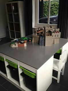 .Activity Table. Store different toys in trofast boxes, and swap boxes in and out of table: lego, cars, trains etc