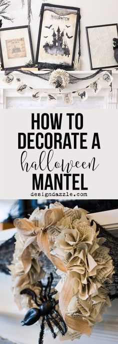 How to create a gorgeous Halloween mantel in under 5 minutes!   easy halloween mantel   halloween mantel decor   mantel decor for halloween   quick halloween decor   halloween home decor ideas    Design Dazzle