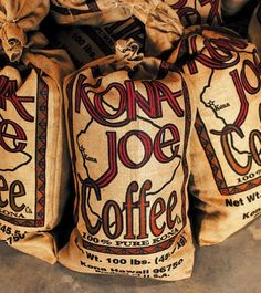 Kona Joe Coffee Bags. I visited this coffee plantation in Kona, HI.