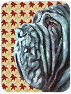 Neapolitan Mastiff Fall Leaves Glass Cutting Board Large LH9554LCB