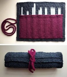 KATE- Free knitting pattern for Case in Point double pointed needle holder -Kristin Briney's holder for double pointed needles uses pockets to organize your dpns. Be sure to check out the projects for customization ideas. Pictured project by digibron. Yarn Projects, Knitting Projects, Crochet Projects, Knitting Ideas, Knitting Patterns Free, Free Knitting, Crochet Patterns, Free Pattern, Cowl Patterns