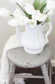 Antique stool updated with gray chalk paint | www.andersonandgrant.com