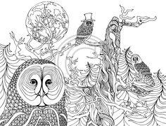 Coloring Pages Of An Owl In The Desert  dieren kleuren