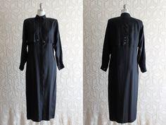 Silk 1990s Black simple Button down Maxi Dress by Liyasvintage, $24.00