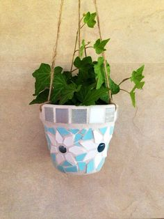 Mosaic hanging planter indoor planter outdoor by moZEHicDesigns