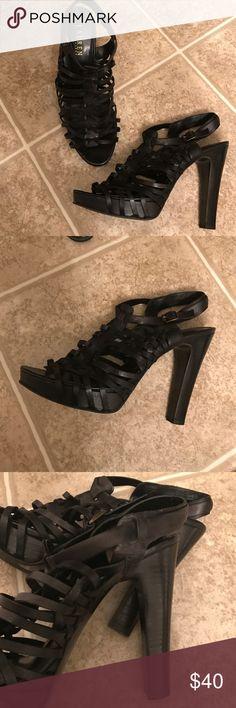Ralph Lauran Leather Heels Ralph Lauren black strappy leather heels Lauren Ralph Lauren Shoes Heels