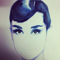 what would Audrey do? watercolor in progress by shana frase