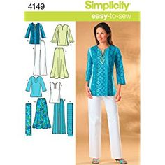 Simplicity Easy-to-Sew Pattern 4149 Womens Skirt, Pants, Tunic and Scarf Sizes 20W-28W