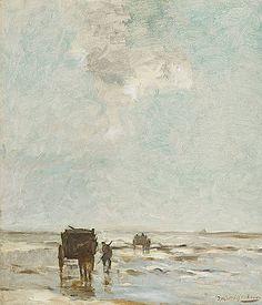 Hendrik Jan Weissenbruch Schelpenvissers aan het strand van Scheveningen Olieverf op doek 60 x 53 cm