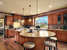 Craftsman Kitchen - Find more amazing designs on Zillow Digs! Simple Kitchen Design, Grey Kitchen Designs, Luxury Kitchen Design, Kitchen Layout, Log Home Kitchens, Home Decor Kitchen, Kitchen Interior, Kitchen Ideas, Kitchen Island And Table Combo