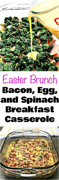 Low-Carb Easter Brunch Bacon, Egg, and Spinach Breakfast Casserole is the perfect quick and easy make-ahead, meal-prep dish, keto loaded with cheese, mushrooms, and peppers. #Easter #EasterRecipes #Brunch #EasterBreakfast #LowCarb #keto