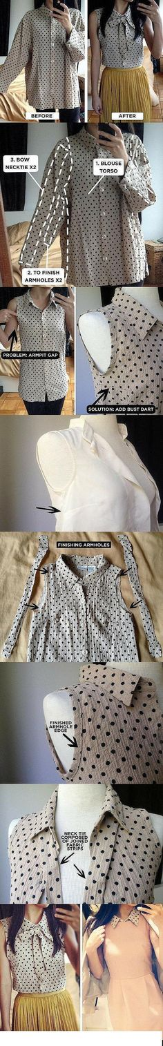 Used Clothing Remake #DIY Big shirt turns into a cute shirt!  I love this sweet classic top! I love making it out of a Goodwill find!