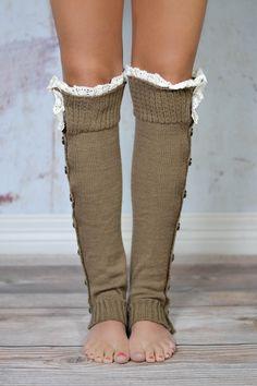 Mocha Lace Button Down Leg Warmers
