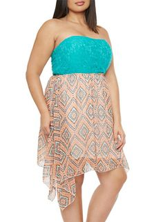 Plus Size Strapless Dress with Lace and Chevron Print