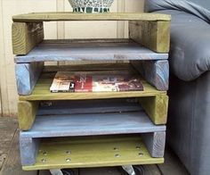 DIY Pallet End Table With Built In Magazine Rack via http://diypallets.com