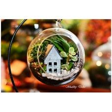 Terrarium in glob, pe suport metalic - Casuta Shabby, Glass Ball, Terrariums, Christmas Bulbs, Unique Gifts, Holiday Decor, Deco, Christmas Light Bulbs, Terrarium
