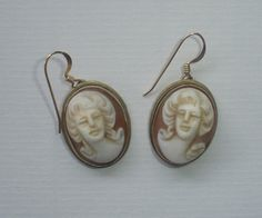 Silver cameo earrings vintage carved shell by VintagePointUK