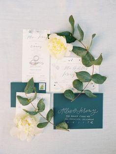Elegant emerald green paper suite: http://www.stylemepretty.com/2016/06/21/spring-golden-gate-club-wedding/ | Photography:Brumley and Wells - http://brumleyandwells.com/
