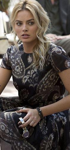 Margot Robbie's gray print dress and watch fashion id