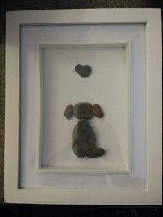 Pebble art, dog by Truly Trudy Beautiful Pebble Art Ideas Sea Glass Crafts, Sea Glass Art, Stained Glass Art, Art Koi, Hobbies And Crafts, Arts And Crafts, Pebble Pictures, Stone Pictures, Rock And Pebbles