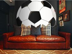 Just tape, trace & paint this easy to do, DIY paint-by-number wall mural that features a giant soccer ball cropped for impact in your man cave. Boys Soccer Bedroom, Soccer Room, Boys Bedroom Decor, Boy Room, Bedroom Ideas, Teen Bedroom, Football Bedroom, Boy Bedrooms, Bedroom Designs