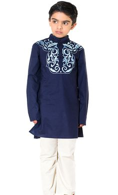 South Asian inspired Embroidered Boy's Kurta Set. Pants Included and side utility pockets.