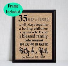 35 Year Wedding Anniversary - 35th Anniversary Gift - 35 Years of Marriage - 35th Anniversary Gift for Parents - Parents Anniversary Gift by momakdesign on Etsy