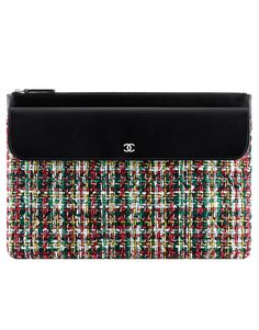 Pouch, lambskin, tweed & silver-tone metal-white, red, green, yellow & black - CHANEL