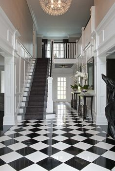 Greenwich Residence - Magazine Spread - transitional - entry - new york - Tiffany Eastman Interiors, LLC Luxury Staircase, Staircase Design, Victorian Terrace Hallway, Floor Design, House Design, Living Room Decor Fireplace, Tiled Hallway, Hallway Designs, Boho Home