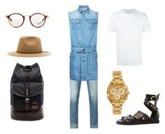 """""""denim on denim"""" by bandathando on Polyvore featuring Armani Jeans, Balmain, Versace, Neil Barrett, Ray-Ban, Brixton, Fred Perry, men's fashion and menswear"""