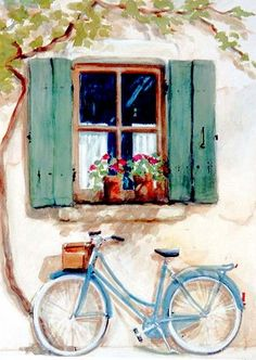 Bicycle Watercolor Painting | Please remember that all works shown here are copyrightedby the artist