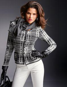 MADELEINE Knitted Blazer– Chic jacquard #blazer in beautiful pattern. Smart, comfortable #knitwear with top quality, intricate finishing.  #MADELEINEfashion #MADELEINE #Fashion #blackandwhite #AW15 #Autumn #fashionable  #FashionStyle