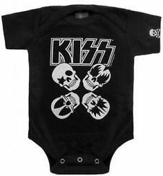 Kid's Sourpuss Kiss Skulls Onesie Tattoo Rock and Roll Metal | eBay