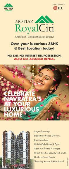 Celebrate Navratra's at your Luxurious Home. To know more call us on 8824882882