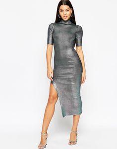 Image 1 ofASOS NIGHT Metallic Rib Midi Dress