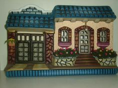 Putz Houses, House Plaques, Polymer Project, Decorated Flower Pots, Clay Art Projects, Ceramic Bisque, Handmade Frames, Paper Houses, Biscuit