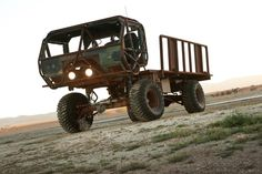 "The ""Mongo"" heist truck from Fast Five, built to steal exotic cars off a speeding train in the Fast & Furious movie franchise. That's an old Oshkosh HEMTT military truck cab with an exterior roll cage, and power is courtesy of a GM RamJet 502-cubic-inch big-block V8 making about 500 horsepower."