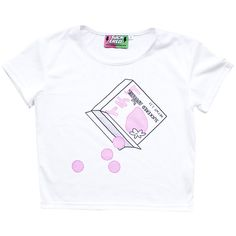 STRAWBERRY GUM Cropped Tee Suckered Apparel ❤ liked on Polyvore featuring tops, t-shirts, tees, white crop top, crop tee, white crop t shirt, cotton polyester t shirts and crop top