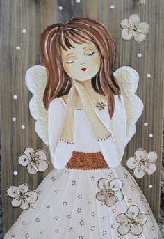Christmas Fair Ideas, Victorian Crafts, Angel Drawing, Angel Crafts, Angels Among Us, Angel Art, Easy Paintings, Cherub, Folk Art