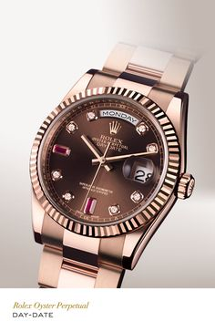 Rolex Day-Date 36mm in 18 ct Everose gold with a fluted bezel, gem-set chocolate dial and Oyster bracelet. #RolexOfficial