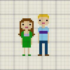 Pattern - Custom Family Portrait Pixel Cross Stitch Chart.