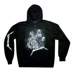 Metallica Justice Sleeve Hoodie - True and real is how you'll feel rocking this Metallica Justice long sleeve hoodie, featuring black and white sketched artwork from their Justice For All album.